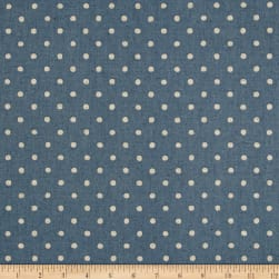 Kaufman Sevenberry Canvas Natural Dots Small Denim