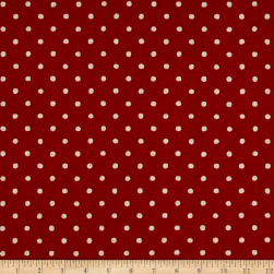 Kaufman Sevenberry Canvas Natural Dots Small Red Fabric