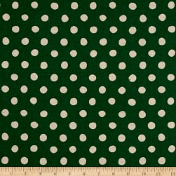 Kaufman Sevenberry Canvas Natural Dots Large Green