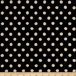 Kaufman Sevenberry Canvas Natural Dots Large Black Fabric