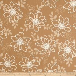 Kaufman Sevenberry Canvas Cotton Flax Prints Flowers Natural Fabric
