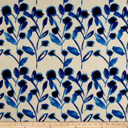 Kaufman Sevenberry Canvas Cotton Flax Prints Vines Blue Fabric