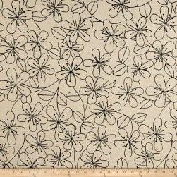 Kaufman Sevenberry Canvas Cotton Flax Prints Etched Flowers Black