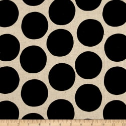 Kaufman Sevenberry Canvas Cotton Flax Prints Dots Black
