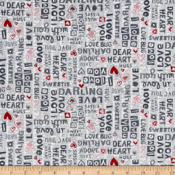 Dear Heart Sentiments Gray Red Fabric