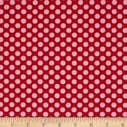 Dear Heart Polka Dot Red Fabric