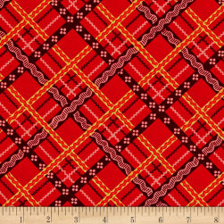 Peaceful Gathering Plaid Red Fabric