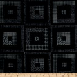 Peaceful Gathering Log Cabin Black Fabric