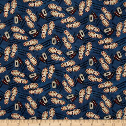 American Honor Bootprints & Dog Tags Blue Fabric