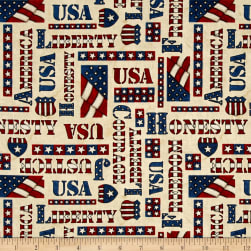 American Honor Words Ivory Fabric