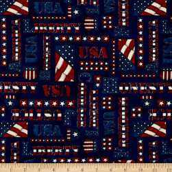 American Honor Words Blue Fabric