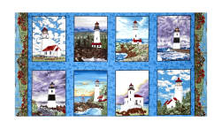 "Lighthouse Wonders Blocks 23.5"" Panel Blue"