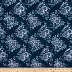 "Rose Toile 108"" Wide Back Navy"