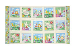 "Spring Fling Blocks 24"" Panel Ivory"