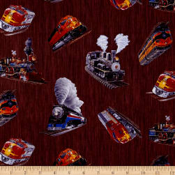 Redwood Express Tossed Trains Brown Fabric