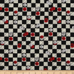 Game Night Checkers Black Fabric