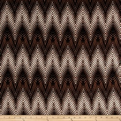 Stretch ITY Jersey Knit Designer Zigzag Brown Fabric