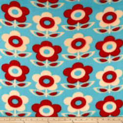 Fleece Print Flowers Red
