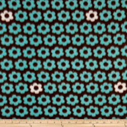 Fleece Print Flower Power Aqua