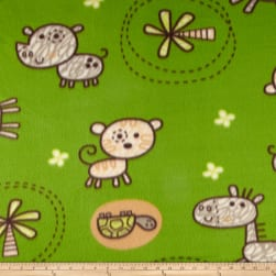 Fleece Prints Baby Animals Green