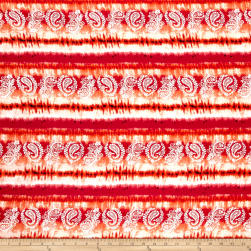 Rayon Challis Moon Beams Tie Dye Orange