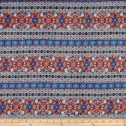 Rayon Challis Folk Town Blue Fabric