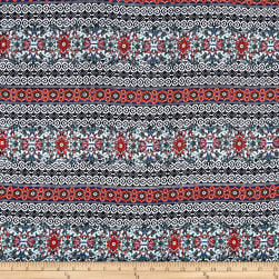 Rayon Challis Folk Town Boho Royal Fabric