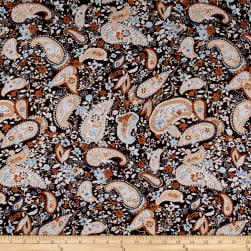 Rayon Challis Paisley  Chic Brown