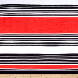 Fashion Jersey Knit Stripe Orange Fabric