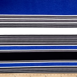 Fashion Jersey Knit Stripe Royal Fabric