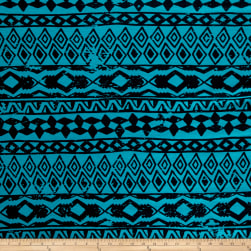 Fashion Jersey Knit Abstract Turquoise Fabric