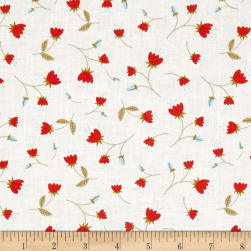 Happy Thoughts Blossoms White Fabric
