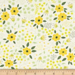 Bright Side Blossoms White Fabric