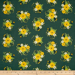 Bright Side Floral Light Pine Green Fabric