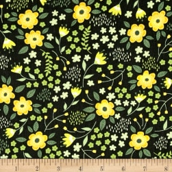 Bright Side Blossoms Dark Pine Green Fabric