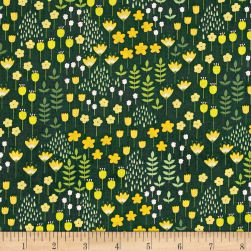Bright Side Meadow Pine Green Fabric