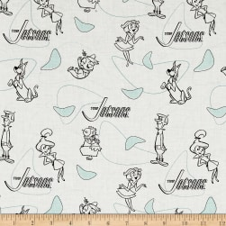 The Jetsons Line Art White Fabric