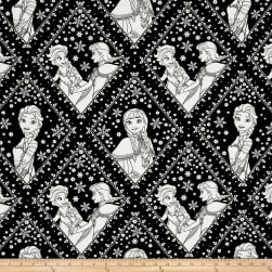 Disney Frozen Sisters in Damask Black Fabric