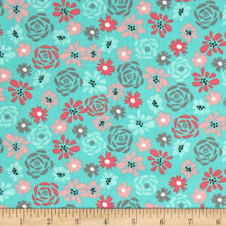 Natures Birds Floral Turquoise