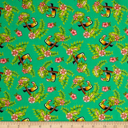 Pink Lady Toucan Green Fabric