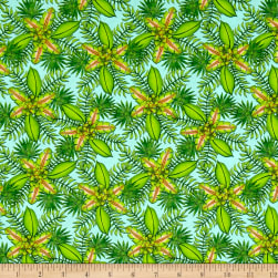 Pink Lady Foliage Aqua Fabric