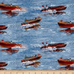 Classic Boats Allover Blue Fabric