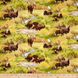 Moose Scenic Green Fabric