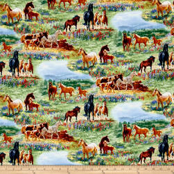 Wildflower Trails Horses Scenic Multi Fabric