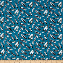 Native Spirit Feathers Turquoise Fabric