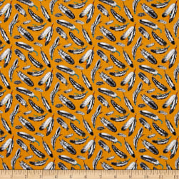 Native Spirit Feathers Gold Fabric