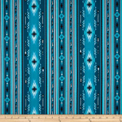 Native Spirit Arrow Feather Stripe Turquoise Fabric