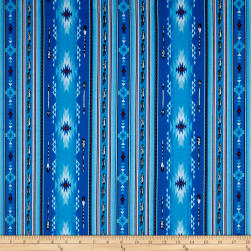 Native Spirit Arrow Feather Stripe Blue Fabric