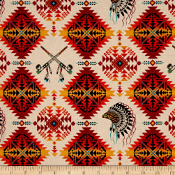 Native Spirit Headdress & Pipes Terracotta Fabric