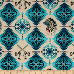 Native Spirit Headdress & Pipes Turquoise Fabric